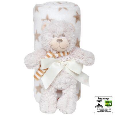 Imagem 2 do produto Ursinho com Mantinha em soft Estrelas Caqui (3m+) - Buba