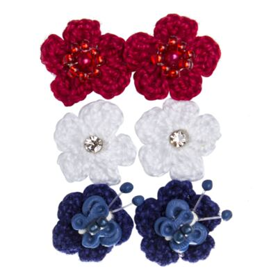 Imagem 1 do produto Kit 6 Flores Crochê c/ velcro Vermelho/Branco/Marinho - Roana