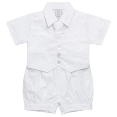 Imagem 1 do produto Camisa Colete & Gravata com Shorts em tricoline Branco - Sylvaz - SZ487 CONJUNTO CURTO BATIZADO C/ COLETE E GRAVATA-P