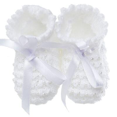 Imagem 1 do produto Botinha para bebe em tricot Laço cetim & pérolas Branca - Roana