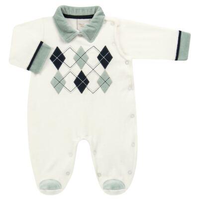 Imagem 1 do produto Macacão longo para bebe em plush Argyle - Anjos Baby - AB171129.006 MACACAO LONGO MASC T12-P