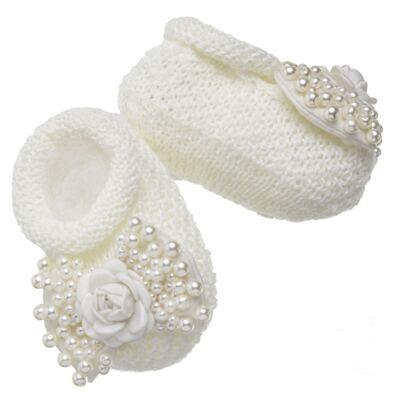Imagem 4 do produto Sapatinho em tricot com Faixa Laço & Flor Marfim - Roana