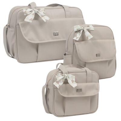 Imagem 1 do produto Bolsa maternidade + Frasqueira térmica + Mochila Laço Marfim - Hey Baby