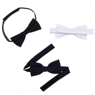 Imagem 2 do produto Kit: 3 gravatas borboleta Branca/Preta/Marinho - Roana