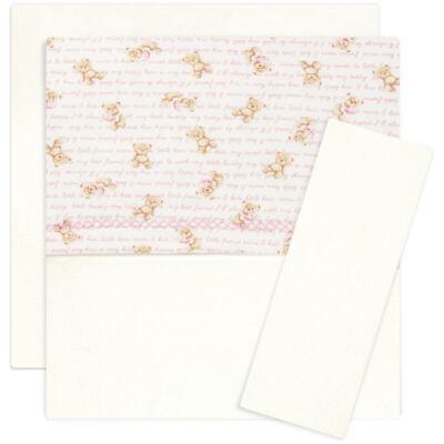 Imagem 1 do produto Jogo de lençol para berço em algodão egípcio c/ jato de cerâmica e filtro solar fps 50 Maternity Pink Bear - Classic for Baby