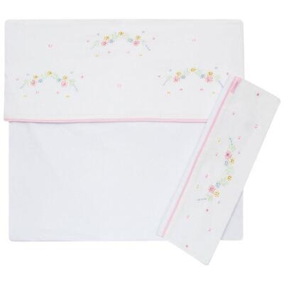Imagem 1 do produto Jogo de lençol em malha para berço Flores - Roana
