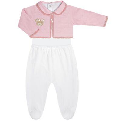 Imagem 2 do produto Conjunto Matelassê para bebe Ursinha: Casaco + Body longo + Calça - Roana