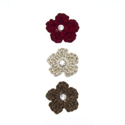 Imagem 1 do produto Kit: 3 Flores adesivas em crochê Marrom/Bege/Bordô - Roana