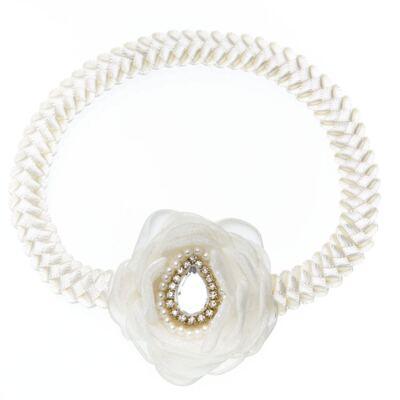 Imagem 1 do produto Faixa de cabelo trançada Flor Pedraria & Strass Marfim - Roana