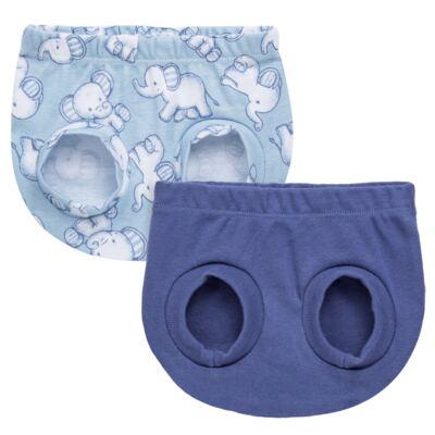 Imagem 1 do produto Pack Elefantinho: 02 Cobre Fraldas para bebe em high comfort - Vicky Baby - 1022-713 ELEF AZUL PK 2 COBRE BEBE SUED HIGH -M
