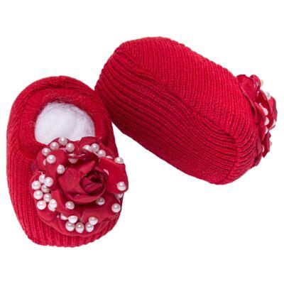 Imagem 4 do produto Sapatinho em tricot com Faixa Flor & Pérolas Vermelha - Roana