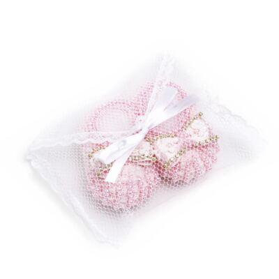 Imagem 3 do produto Sapatinho para bebe em tricot Pérolas & Laço Rosa - Roana
