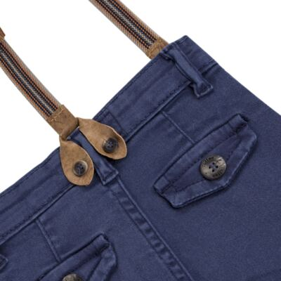 Imagem 4 do produto Calça & Suspensório jeans masculina para bebê Denim - Toffee & Co. - 4253 CALÇA BABY SAR SUSP MASC SARJA AZUL ESCURO-P