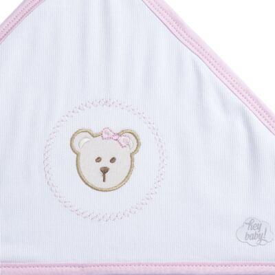 Imagem 2 do produto Toalha com capuz para bebe Pink Teddy Bear - Hey Baby - JBTER-21 Toalha de Banho Teddy Rosa 80x80