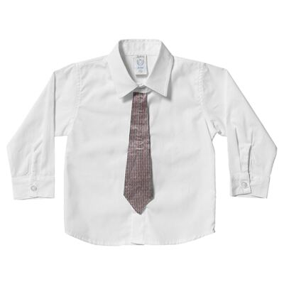 Imagem 1 do produto Camisa & Gravata para bebe em tricoline Branca - Sylvaz - SZ1145 CAMISA ML C/ GRAVATA BRANCO-P