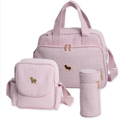 Imagem 1 do produto Bolsa maternidade + Frasqueira térmica + Porta Mamadeira Tressê Rosa - Majov