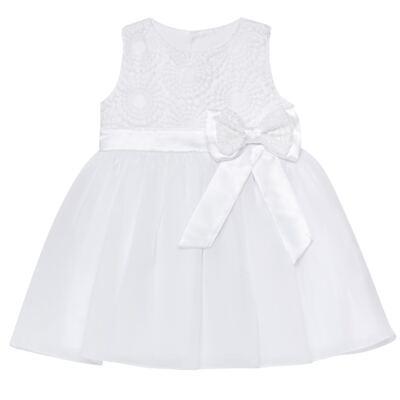 Imagem 1 do produto Vestido para bebê em organza Laço Branco - Sylvaz - SZ1064 VESTIDO BATIZADO REGATA LAÇO BRANCO-G