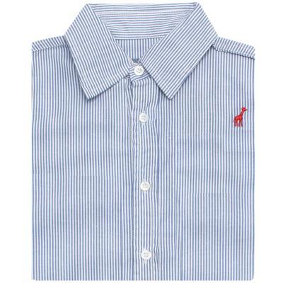Imagem 2 do produto Camisa para bebe em tricoline listrado azul - Toffee - 1214C89660 CAMISA ML TECIDO AZ-1