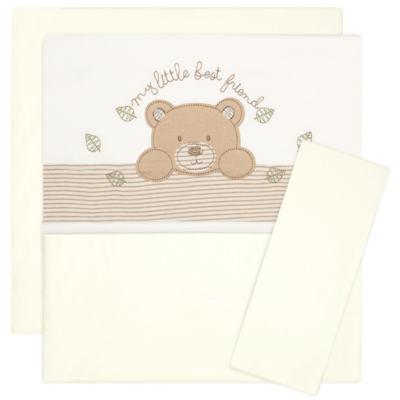 Imagem 1 do produto Jogo de lençol para carrinho em algodão egípcio c/ jato de cerâmica e filtro solar fps 50 Nature Little Friend Bear - Classic for Baby