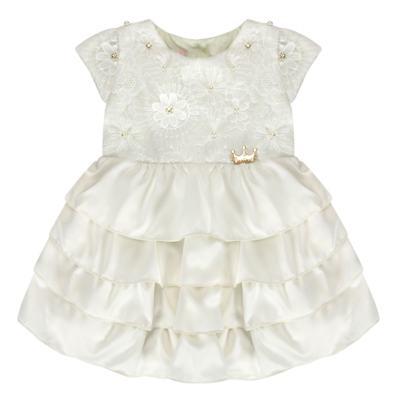 Imagem 1 do produto Vestido para bebe em renda e cetim Valentina - Miss Sweet - SW1037 Vestido Gripper Baby Marfim-P