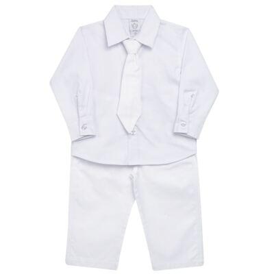 Imagem 1 do produto Camisa & Gravata c/ Calça para bebe em tricoline Branco - Sylvaz - SZ745 CONJUNTO BATIZADO C/ GRAVATA BRANCO-M