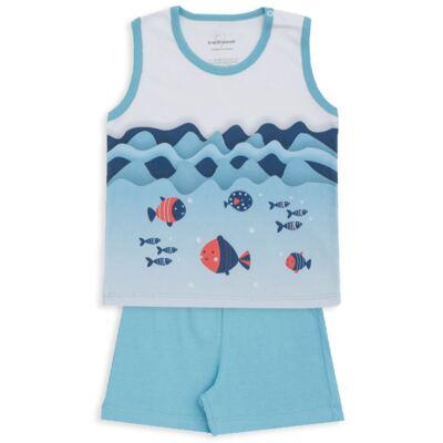 Imagem 1 do produto Pijama regata em suedine Little Fish - Dedeka - DDK18200/L44 PIJAMA SUEDINE AZUL SERENO-2