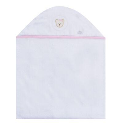 Imagem 1 do produto Toalha com capuz para bebe Pink Teddy Bear - Hey Baby - JBTER-16 Toalha Banho Felpa com Fralda Teddy Rosa
