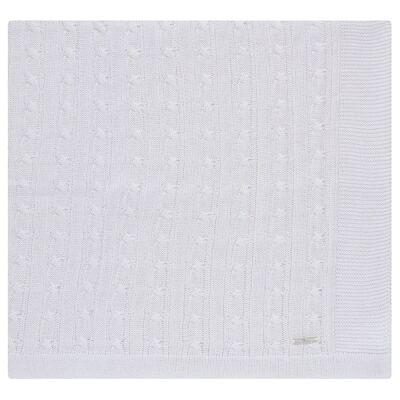 Imagem 1 do produto Manta para bebe em tricot Branca - Baby Classic