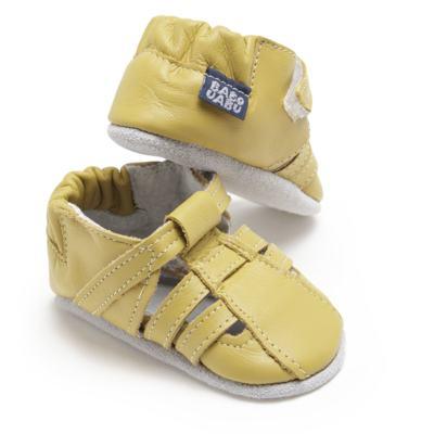 Imagem 1 do produto Sandália para bebe c/ velcro em couro Eco Amarelo - Babo Uabu - BABO39 Sandalia Tiras Amarela-0-6 meses