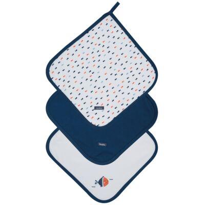 Imagem 1 do produto Kit com 3 fraldinhas de boca para bebe em suedine Little Fish - Dedeka