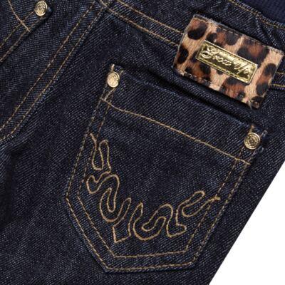 Imagem 3 do produto Calça para bebe jeans c/ cós em ribana e barra dobrável - Grow Up - 03060163.0058 CALCA DENIM FEM FORRADA JEANS-M