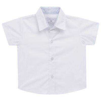 Imagem 3 do produto Jardineira c/ Camisa para bebe em tricoline Branca - Sylvaz - SZ411 Conjunto curto Batizado Branco-M