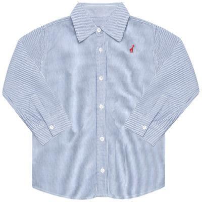 Imagem 1 do produto Camisa para bebe em tricoline listrado azul - Toffee - 1214C89660 CAMISA ML TECIDO AZ-3-6