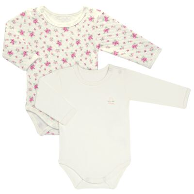 Kit 2 Bodies longos para bebe em suedine Marfim Florale - Grow Up - 09100097.0004 KIT BODIES FLOWERS ML CREME-RN
