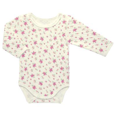 Imagem 2 do produto Kit 2 Bodies longos para bebe em suedine Marfim Florale - Grow Up - 09100097.0004 KIT BODIES FLOWERS ML CREME-RN