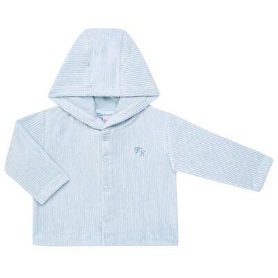 Imagem 1 do produto Casaco para bebe em plush cotelê Azul - Mini & Kids - 20061021.165 CASACO C/ CAPUZ PLUSH COTELE AZUL-M