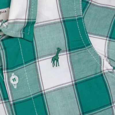 Imagem 2 do produto Macacão Polo para bebe em tricoline Xadrez Verde/Branco - Toffee - 30GP0001.319 MACACÃO M/C GOLA POLO - TRICOLINE-3-6