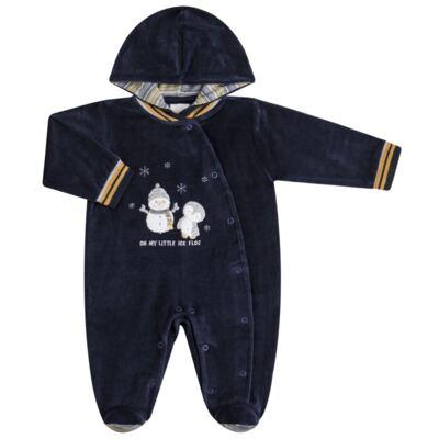 Imagem 1 do produto Macacão longo c/ capuz para bebe em plush Ice Penguim - Anjos Baby - AB171176.040 Macacão Longo Masc plush Marinho -G