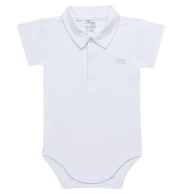 Imagem 1 do produto Body polo curto para bebe em suedine Branco - Anjos Baby - AB1010.001 Body Polo masc. suedine Branco -M