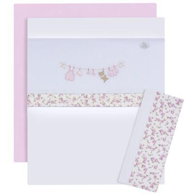 Imagem 1 do produto Jogo de lençol para berço em malha Fio Penteado Flowers - Hey Baby