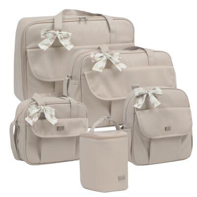 Imagem 1 do produto Mala maternidade + Bolsa + Frasqueira térmica + Mochila + Porta Mamadeira Laço Marfim - Hey Baby