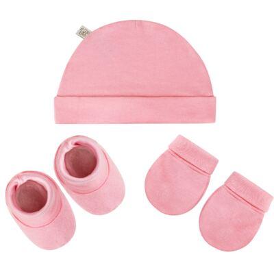 Imagem 1 do produto Kit c/ Touca, Luva e Sapatinho para bebe em malha Rosa - Pingo Lelê