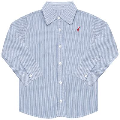 Imagem 1 do produto Camisa para bebe em tricoline listrado azul - Toffee - 1214C89660 CAMISA ML TECIDO AZ-2