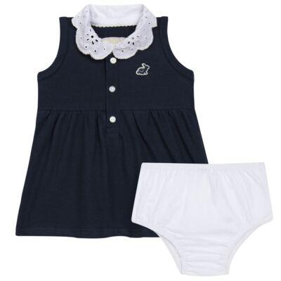 Imagem 1 do produto Vestido curto com Calcinha para bebe em piquet Marinho - Missfloor - 18VC0001.365 VESTIDO POLO REGATA C/CALCINHA-PIQUET-0-3