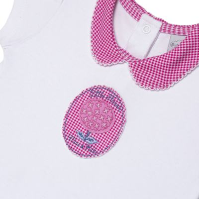 Imagem 2 do produto Macacão curto com golinha para bebe em algodão egípcio c/ jato de cerâmica e filtro solar fps 50 L'Hortensia - Mini & Kids - MCCG1746 MACACÃO M/C C/ GOLA SUEDINE HORTÊNCIAS-P