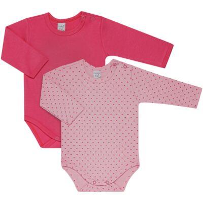 Imagem 1 do produto Kit 2 Bodies longos para bebe Pink Little Hearts - Vicky Lipe - LTPBML02 PACK 2 BODIES ML CORAÇÃO ROSA BB/PINK-P
