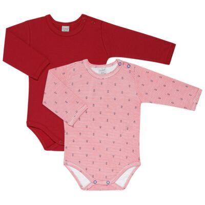 Imagem 1 do produto Kit 2 Bodies longos para bebe Red Anchor - Vicky Lipe - LTPBML07 PACK 2 BODIES ML LISTRA ÂNCORA/VERMELHO-RN