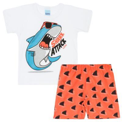 Imagem 1 do produto Camiseta branca com Bermuda tactel Tutubarão - Livy