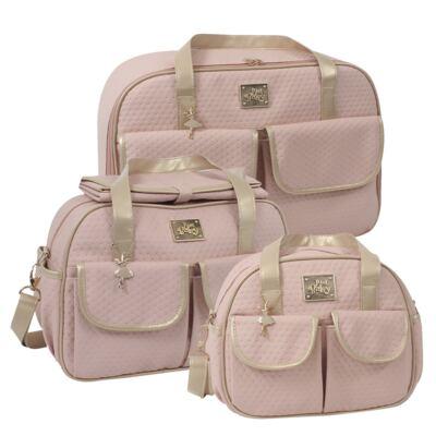 Imagem 1 do produto Mala maternidade para bebe + Bolsa + Frasqueira Térmica Nice Rosê - Just Baby
