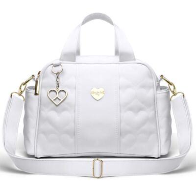 Imagem 1 do produto Bolsa Térmica para bebe Santiago Corações Matelassê Branca - Classic for Baby Bags